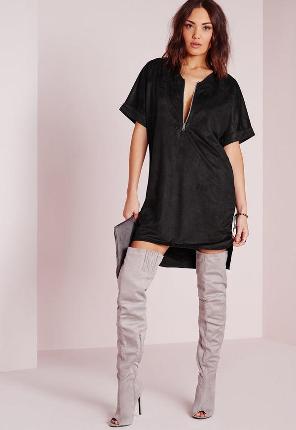 Faux Suede Slouchy Oversized Dress Black
