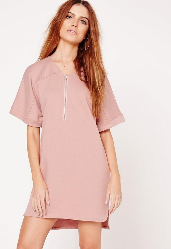 Short Sleeve Zip Front Oversized T-Shirt Dress Nude