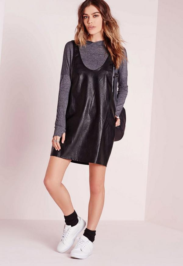 Scoop Neck Faux Leather Bodycon Dress