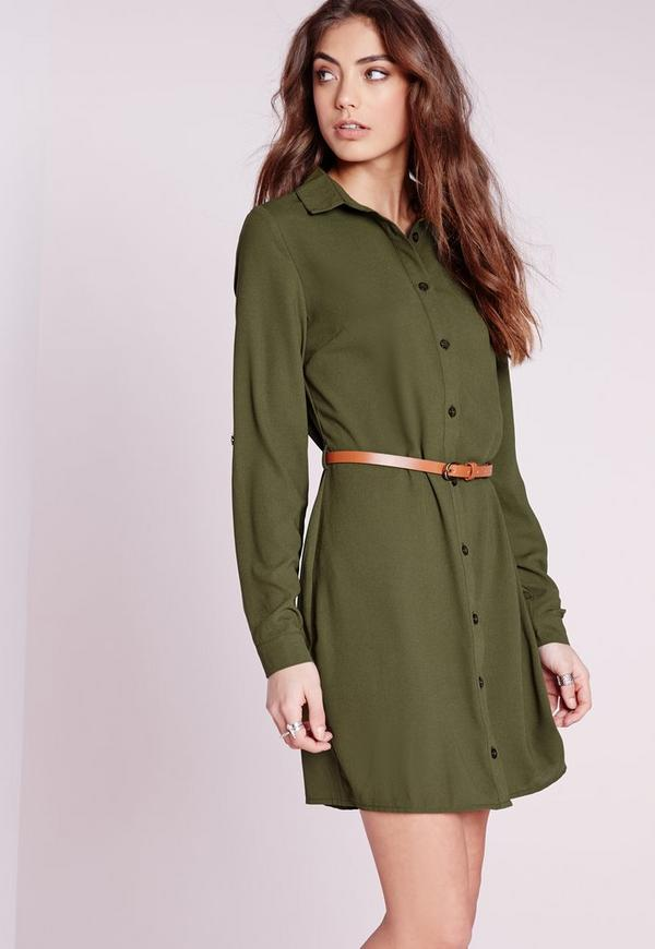 Long Sleeve Belted Shirt Dress Khaki