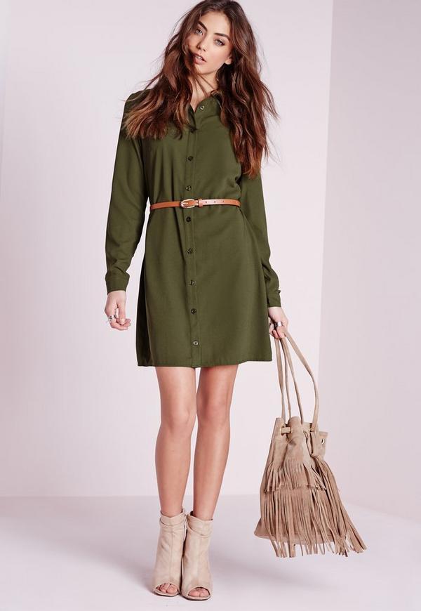 robe chemise manches longues vert kaki avec ceinture missguided. Black Bedroom Furniture Sets. Home Design Ideas