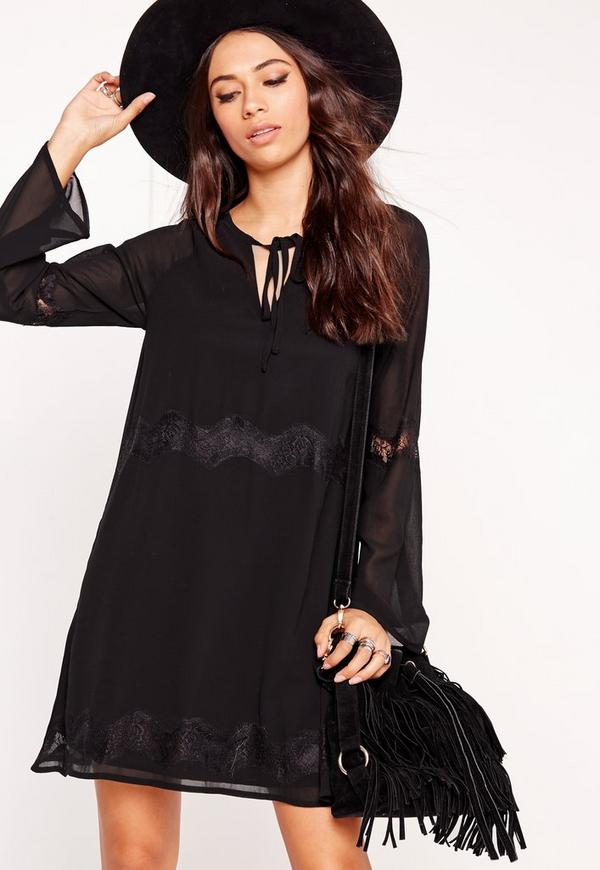 Tie Neck Lace Detail Smock Dress Black