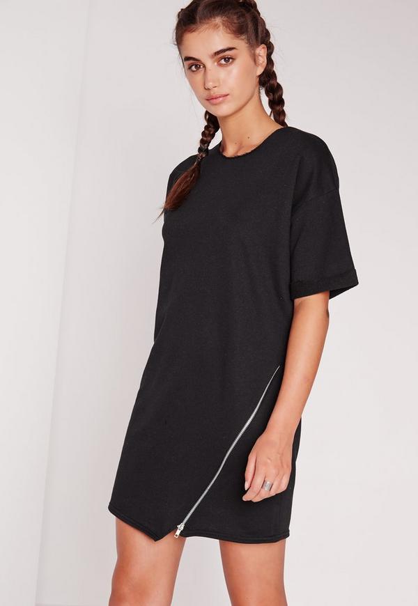 Short Sleeve Asymmetric Zip Shift Dress Black