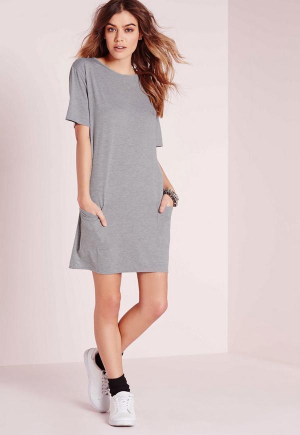 Jersey Pocket Front T-Shirt Dress Grey Marl