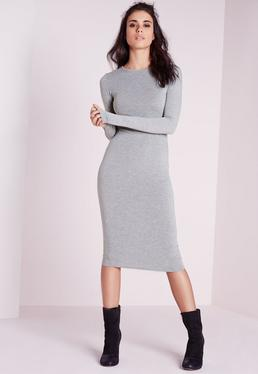 Jersey Bodycon Midi Dress Grey Marl