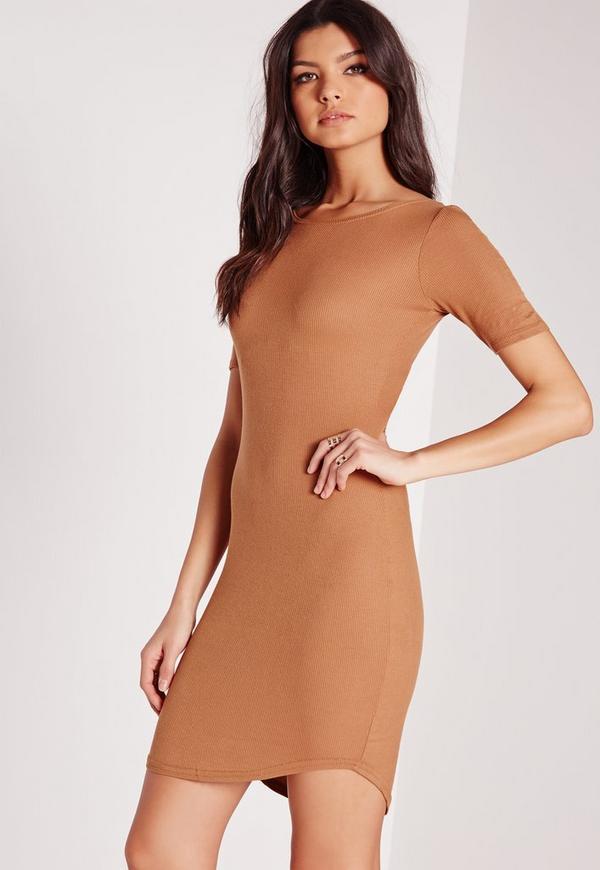 Ribbed Jersey Curve Hem Bodycon Dress Brown