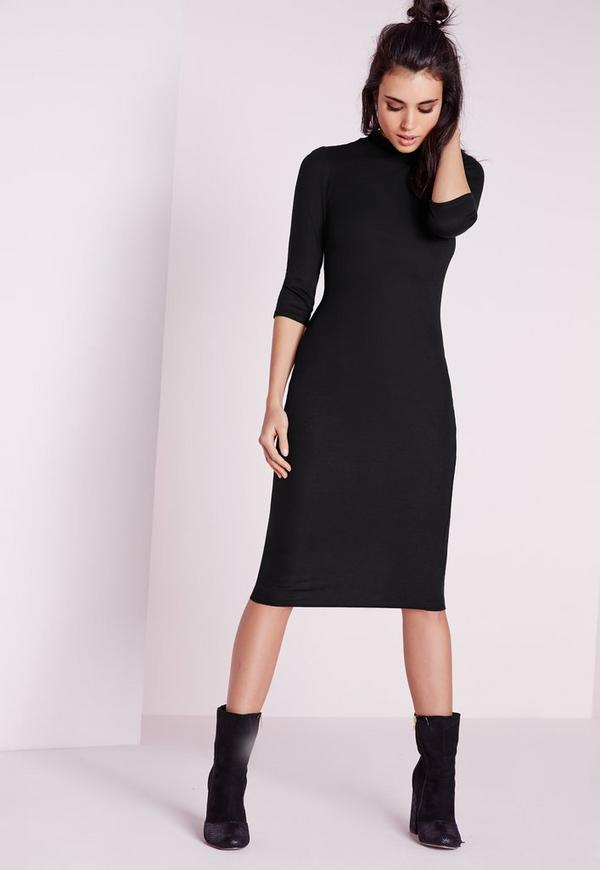 Ribbed Jersey Roll Neck Midi Dress Black