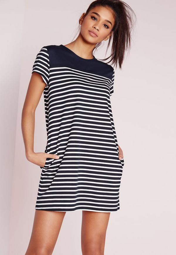 stripe contrast t shirt dress navy missguided