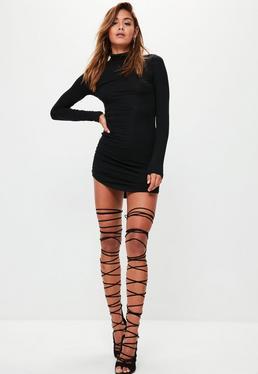 Curve Hem Roll Neck Bodycon Dress Black