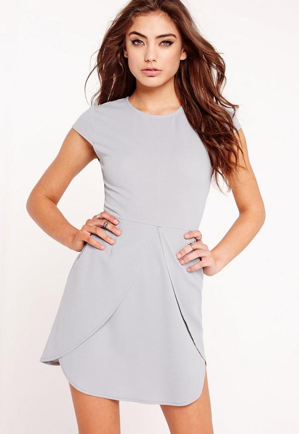 Short Sleeve Panelled Front Bodycon Dress Grey
