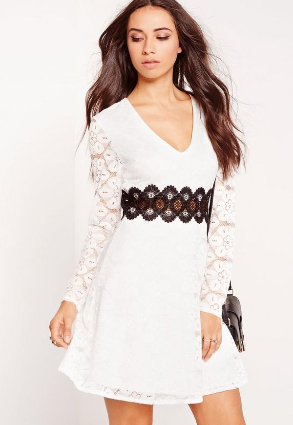 Lace Contrast Waist Skater Dress White