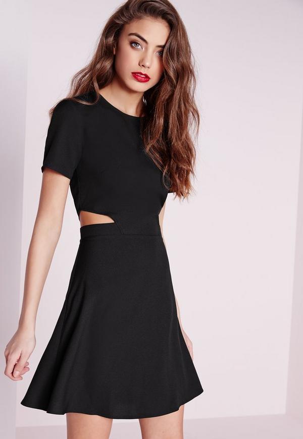 Short Sleeve Crepe Cut Out Waist Skater Dress Black