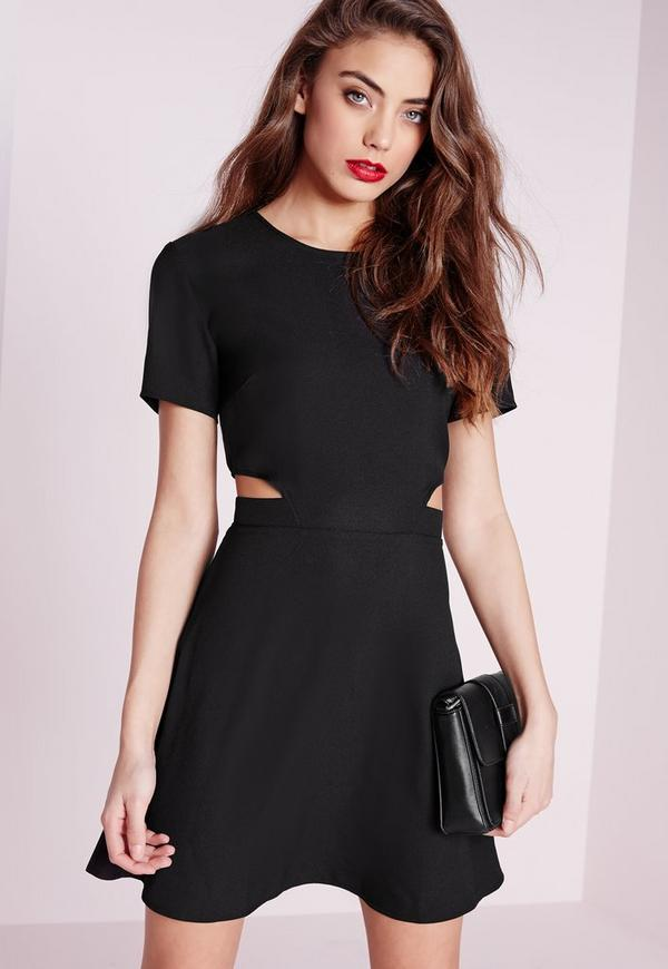 Short sleeve crepe cut out waist skater dress black missguided