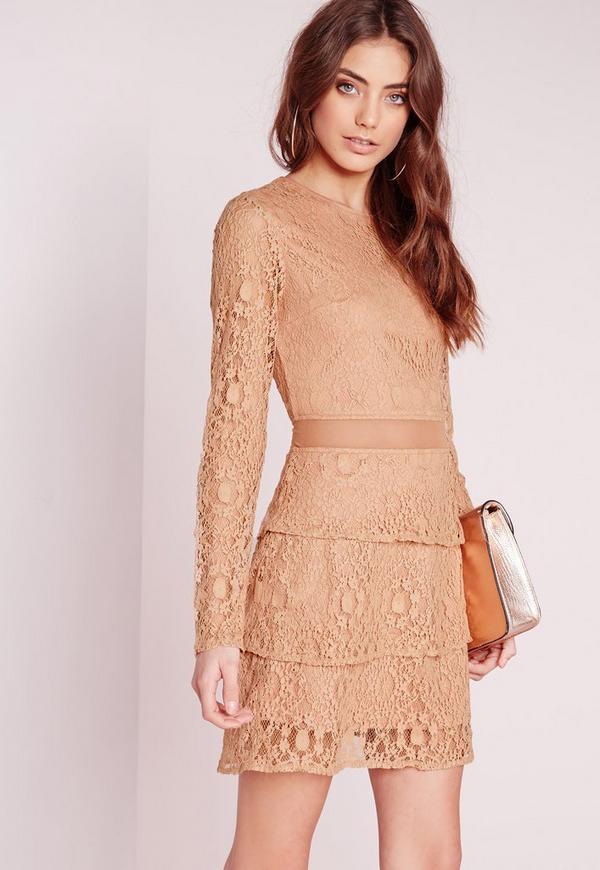 Mesh Insert Lace Skater Dress Camel
