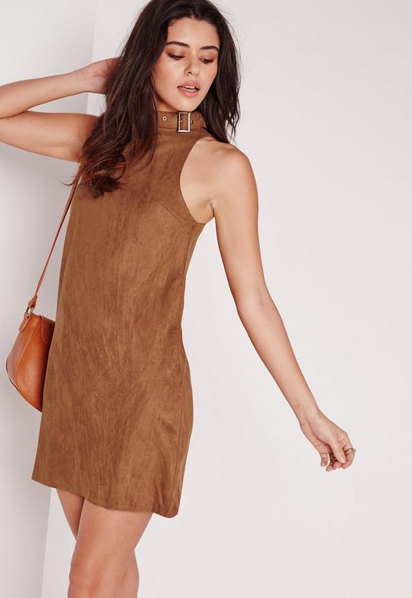 Faux Suede Buckle Neck A-Line Shift Dress Tan