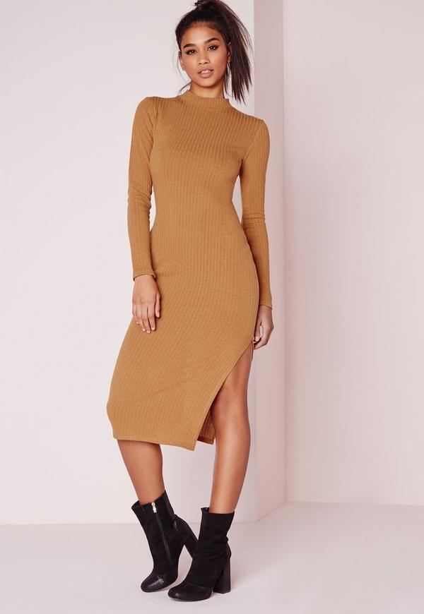 Long Sleeve Midi Dress Camel Rib