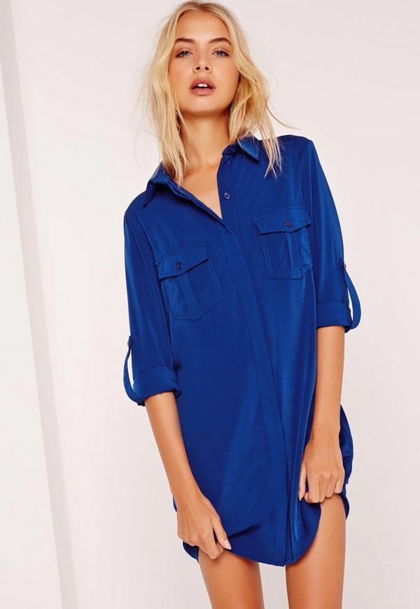 Turn Up Sleeve Pocket Front Shirt Dress Blue