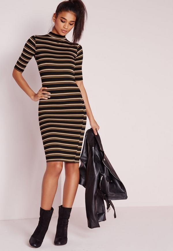 High Neck Stripe Midi Dress Camel