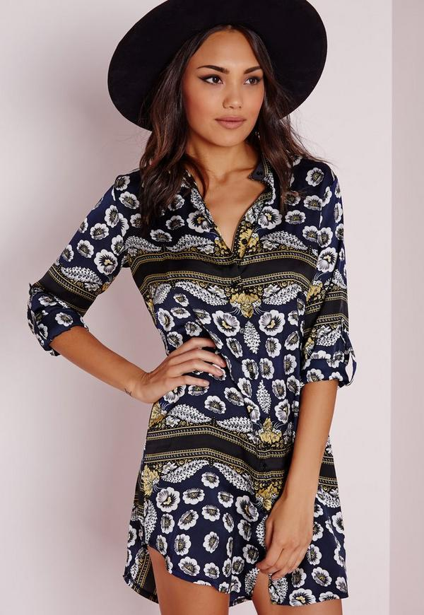 Collarless Long Sleeve Shirt Dress Navy Scarf Print