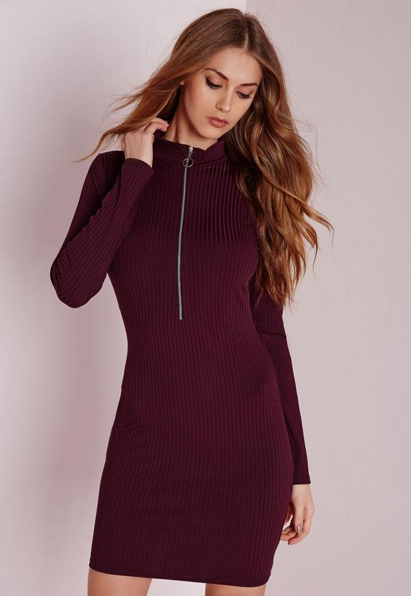Long Sleeve Ribbed Zip Neck Bodycon Dress Burgundy