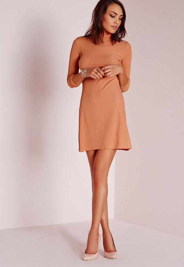 Roll Neck Ribbed Dress Nude