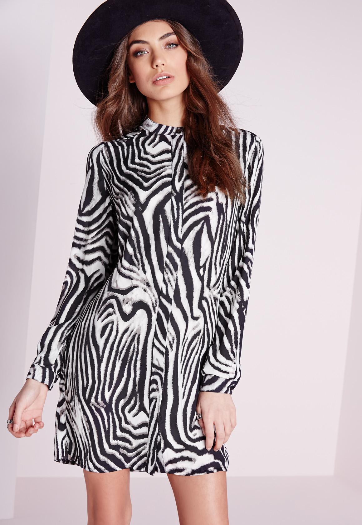 Collarless Shirt Dress Zebra Print | Missguided