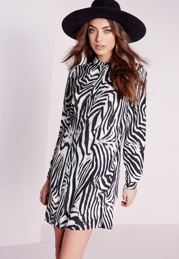 Collarless Shirt Dress Zebra Print