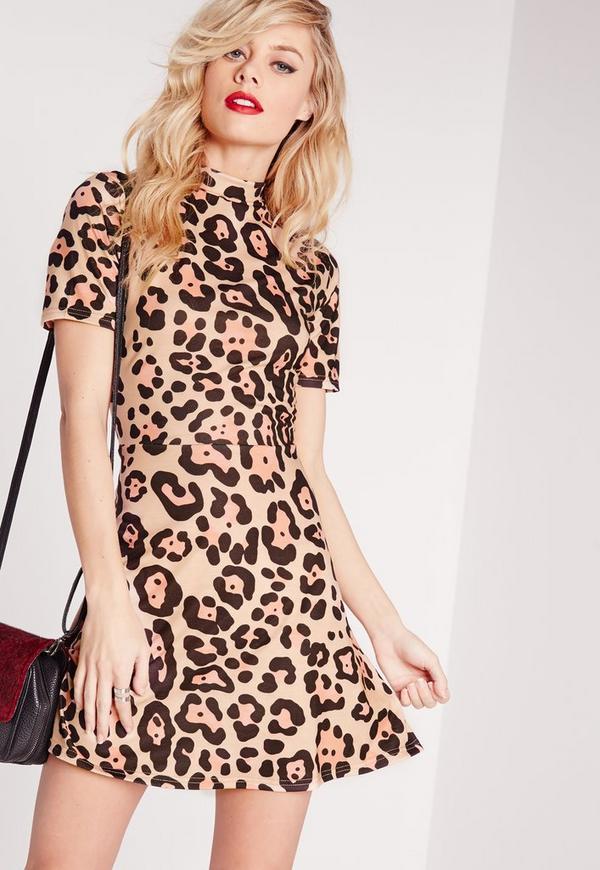 Short Sleeve Skater Dress Camel Leopard Print