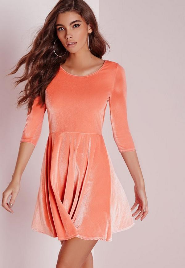 3/4 Sleeve Velvet Skater Dress Pink