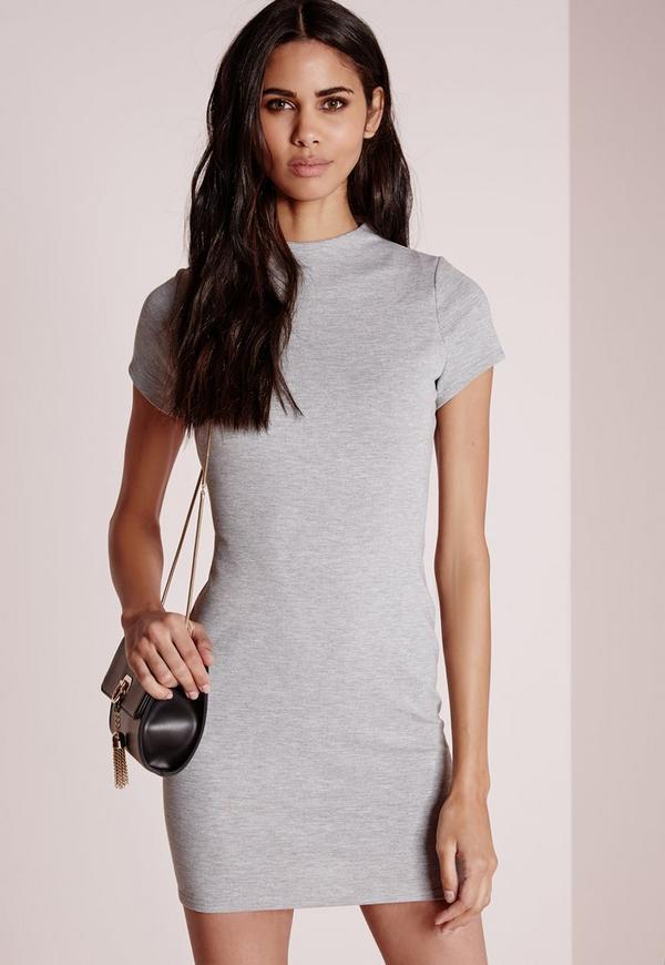 High Neck Bodycon Dress Grey Marl