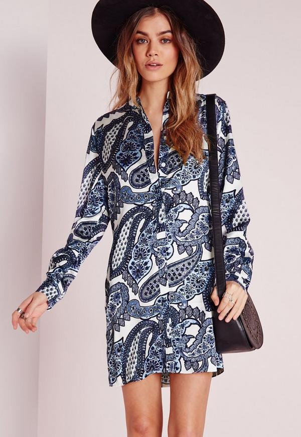 robe chemise sans col imprim bleu blanc missguided. Black Bedroom Furniture Sets. Home Design Ideas