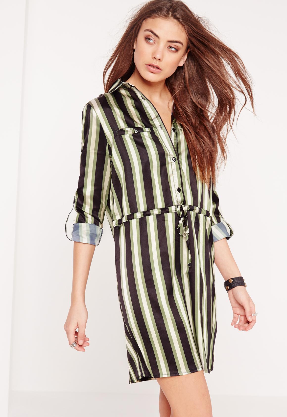 44117fa56b79a Drawstring Waist Shirt Dress Khaki Stripe