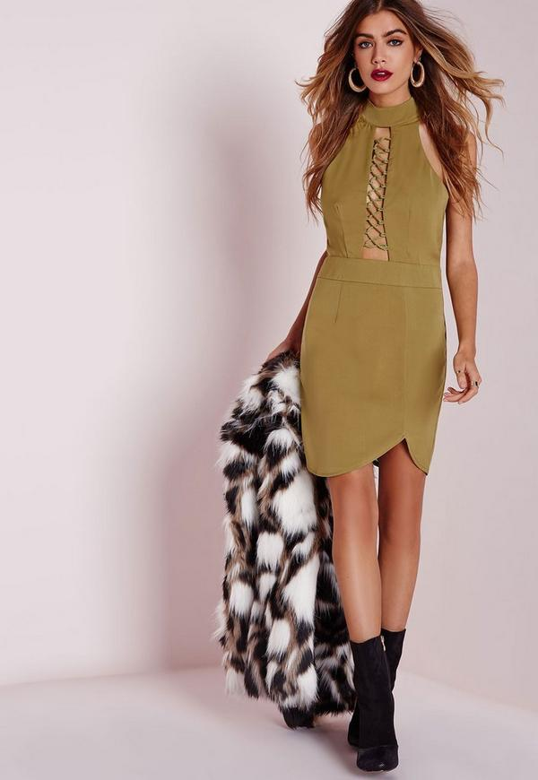 High Neck Lace Up Detail Bodycon Dress Khaki