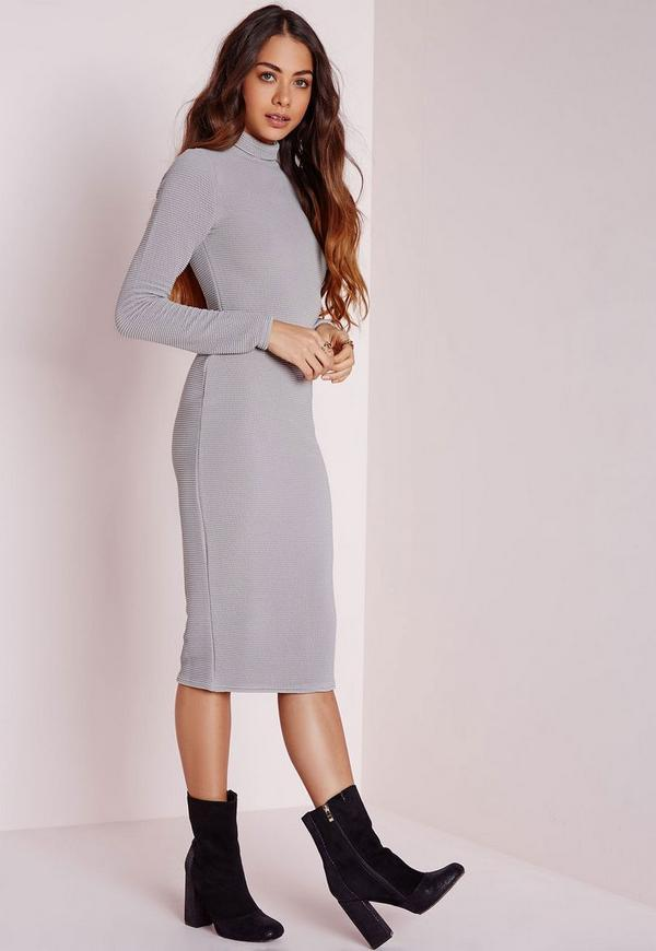 Roll Neck Ribbed Midi Dress Ice Grey