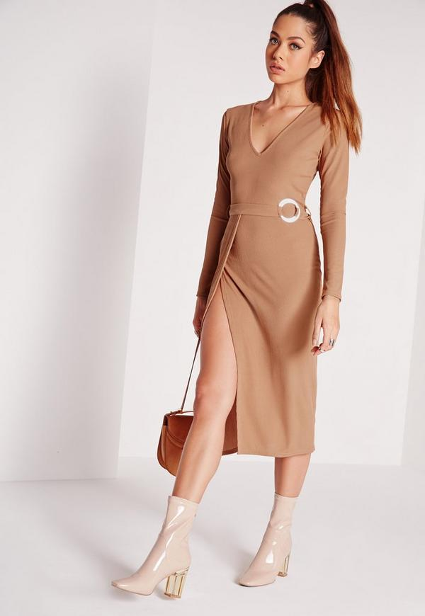 V Neck Circle Belted Ribbed Midi Dress Brown