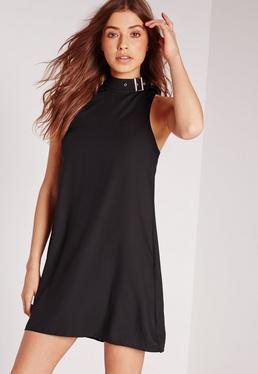 Buckle Neck Sleeveless Shift Dress Black