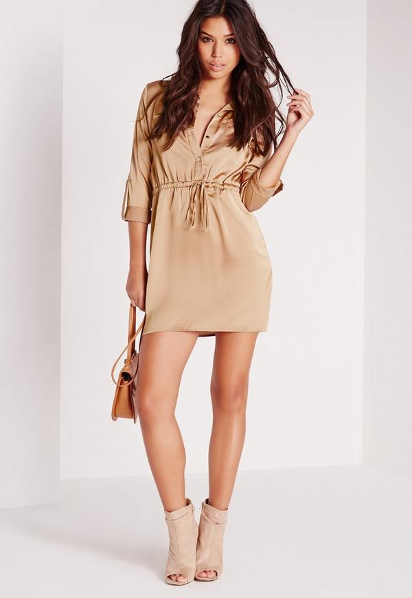 Silky Tie Waist Shirt Dress Gold