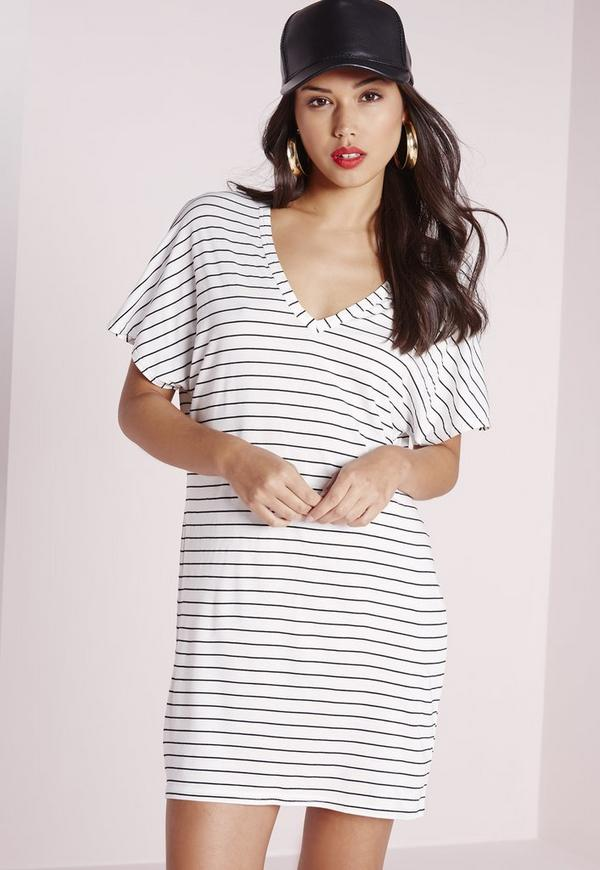 V-Neck Stripe T-Shirt Dress Black/White