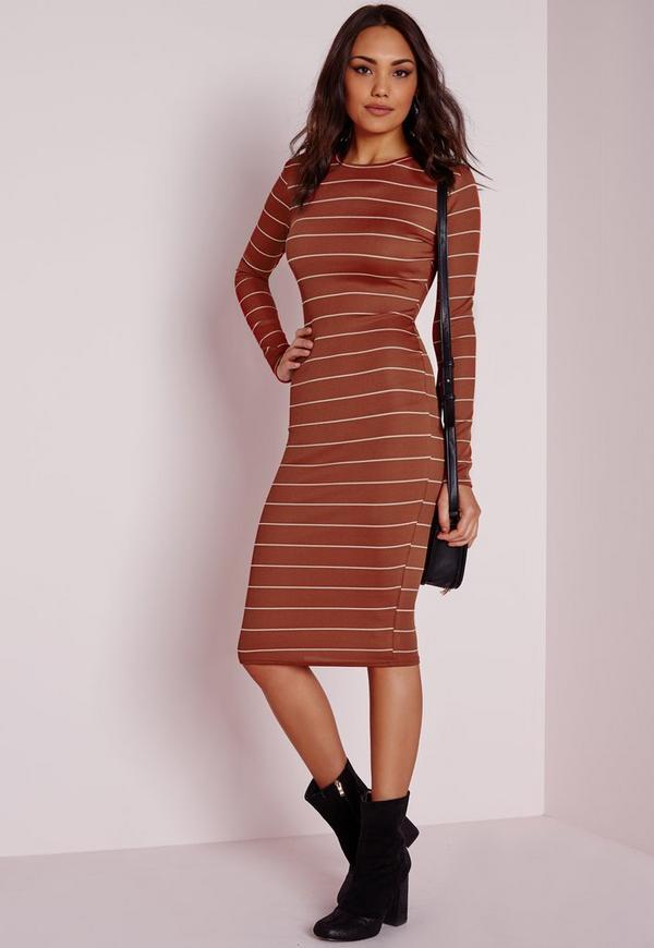Long Sleeve Rib Stripe Midi Dress Rust/White