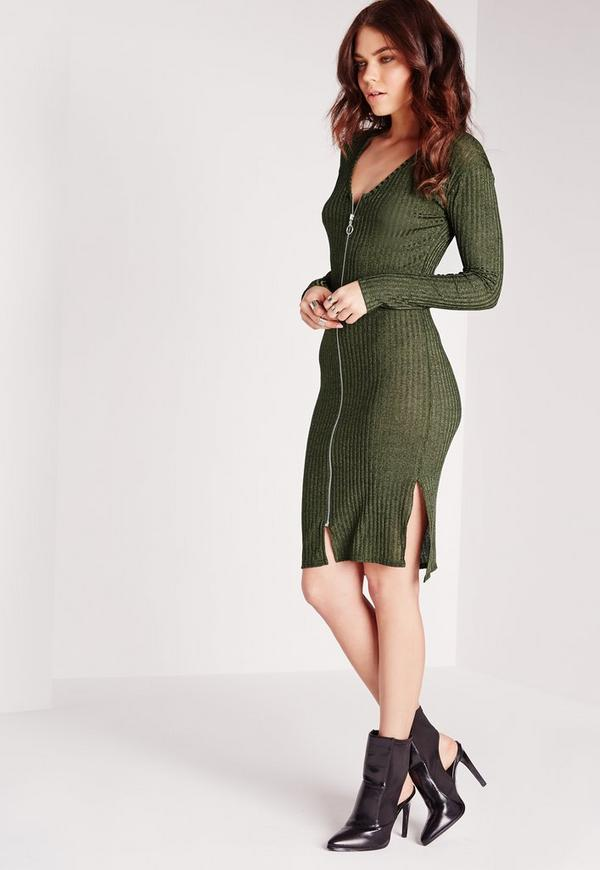 V-Neck Ribbed Midi Bodycon Dress Green
