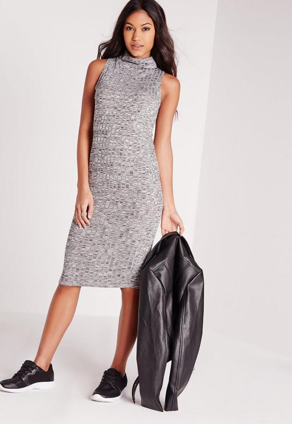 Roll Neck Sleeveless Midi Dress Grey