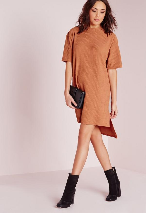 Short Sleeve Textured Shift Dress Camel
