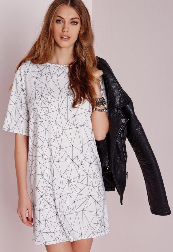 Short Sleeve Line Print T-Shirt Dress White/Black