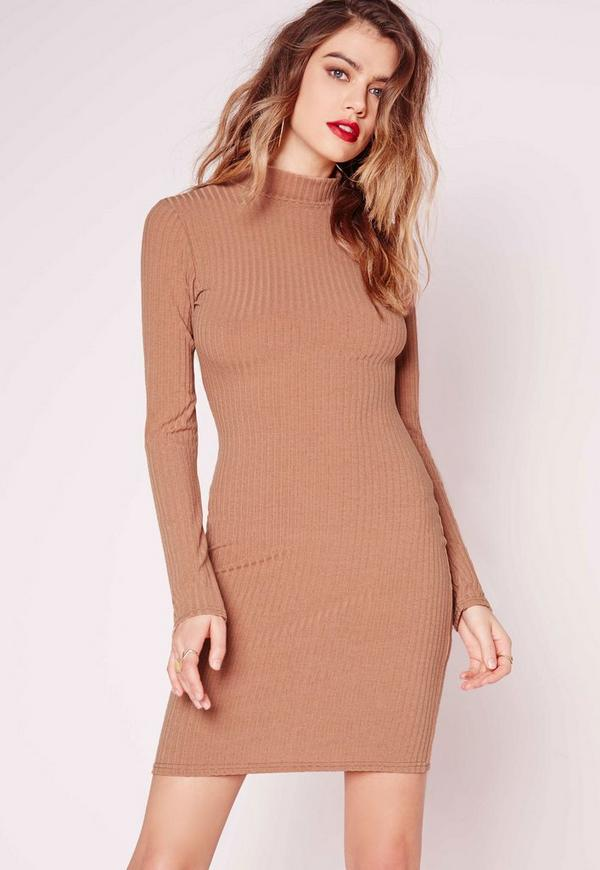 Camel long sleeve dress