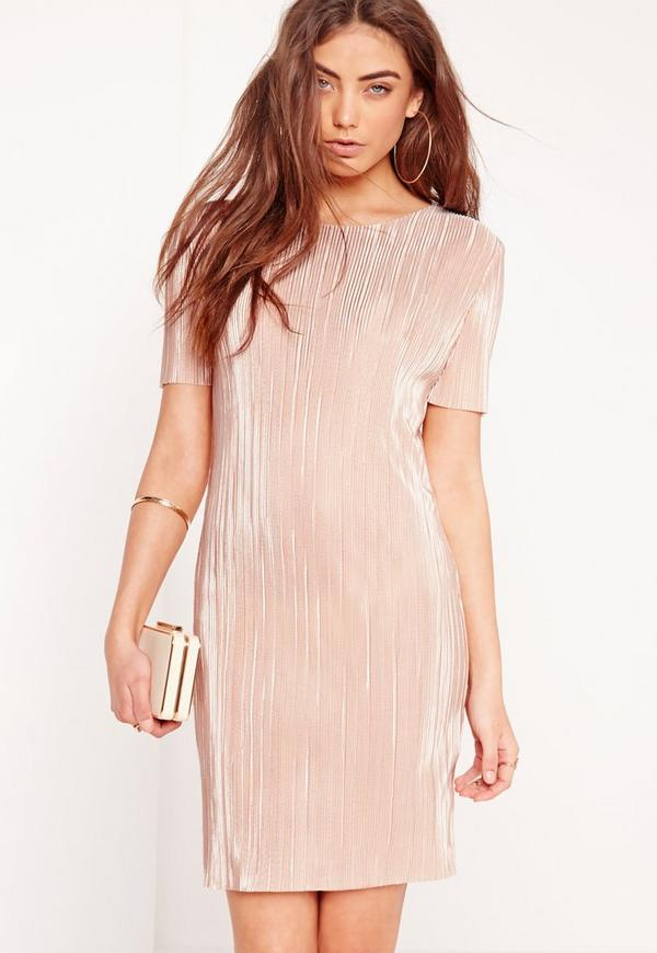 Short Sleeve Crinkle Bodycon Dress Nude