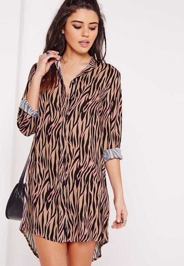 Oversized Shirt Dress Animal Print Camel