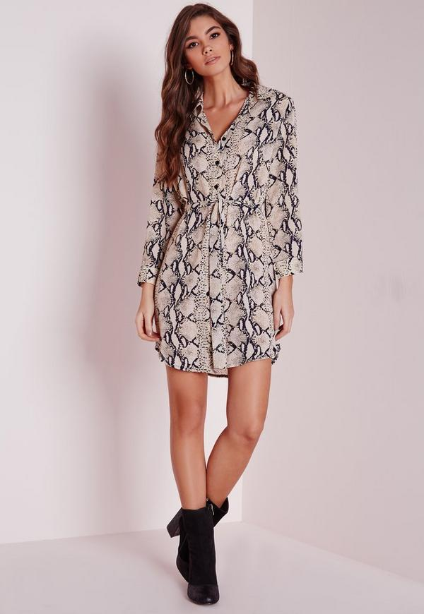 Long Sleeve Snakeskin Shirt Dress Stone