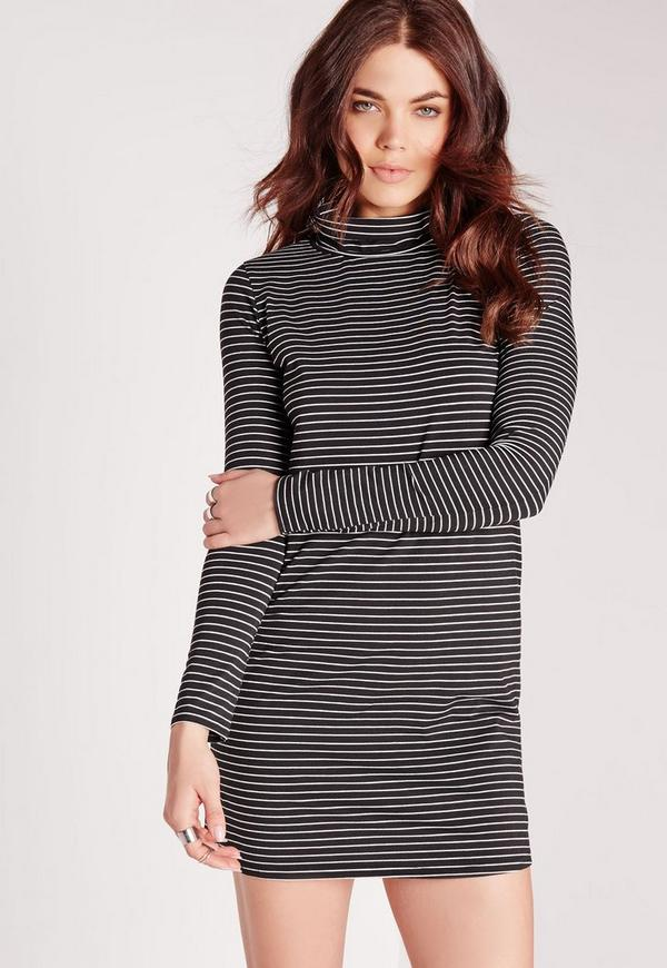 Long Sleeve Roll Neck Stripe Swing Dress Black/White
