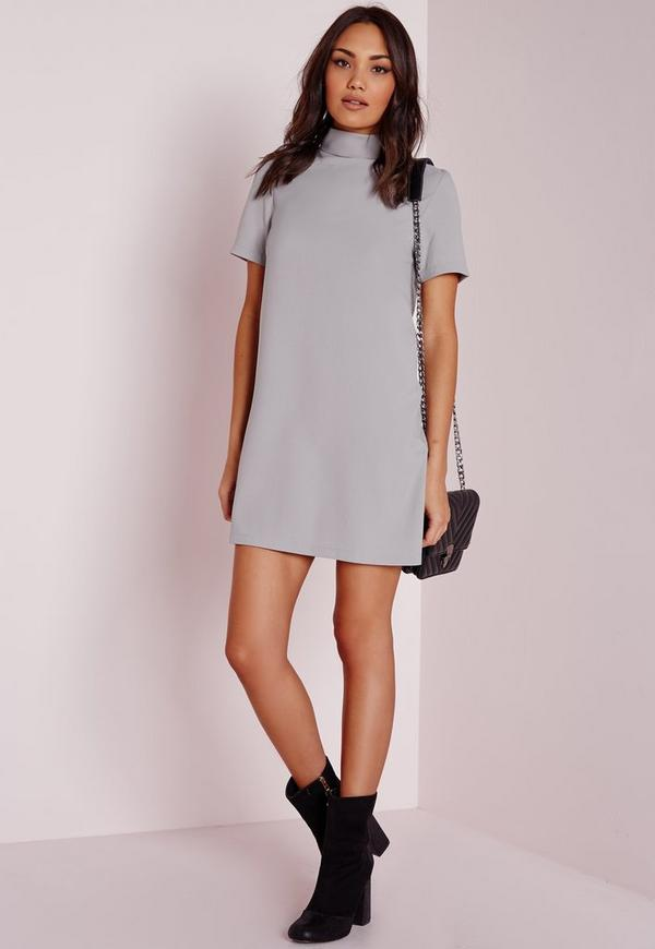 High Neck Short Sleeve Shift Dress Grey