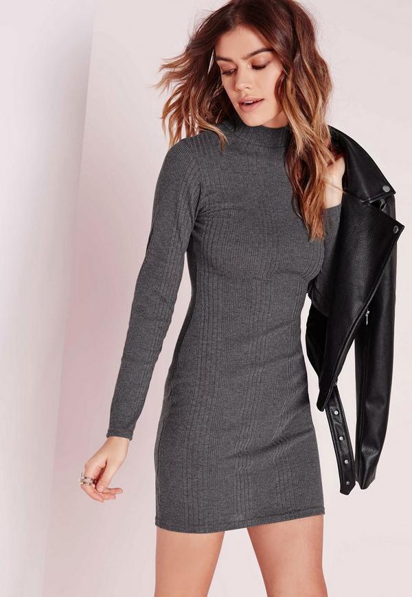 High Neck Long Sleeve Rib Bodycon Dress Grey Marl